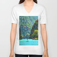 peru V-neck T-shirts featuring Ceti Peru by Bunny Clarke