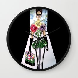 FLORA CATWALK COUTURE ILLUSTRATION BY JAMES THOMAS RYAN Wall Clock