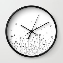 Daisy Flowers Ink Illustration Art Wall Clock