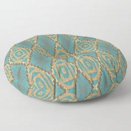 Teal Turquoise Khaki Brown Rustic Mosaic Pattern Floor Pillow