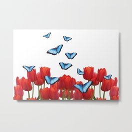 Red tulips with blue morph butterflies Metal Print