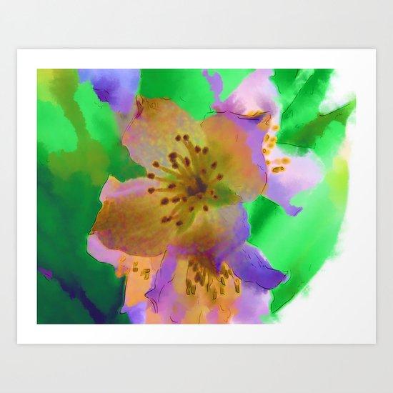 Purple Flowers - Watercolour Painting Art Print