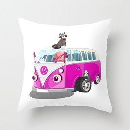 Cute pink bus Throw Pillow