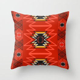 Ethnic lines in red Throw Pillow
