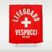 grand theft auto Shower Curtains featuring Los Santos Vespucci Beach Lifeguard Grand Theft Auto by KeenaKorn