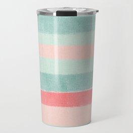 Stripes painted coral minimal mint teal bright southern charleston decor colors Travel Mug