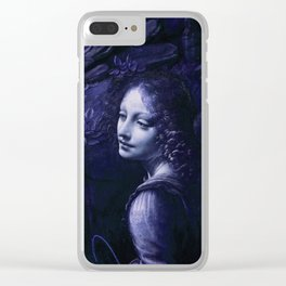 "Leonardo da Vinci Angel in ""The Virgin of the Rocks (London)"" (blue) Clear iPhone Case"
