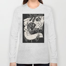 Herbie's Tune, Abstract Jazz Instruments Black and White Block Print Long Sleeve T-shirt