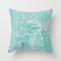 aqua Throw Pillows featuring Aqua by Georgiana Paraschiv
