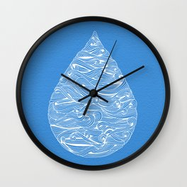 Water Drop – White Ink on Blue Wall Clock