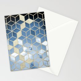 Shades Of Blue Cubes Pattern Stationery Cards