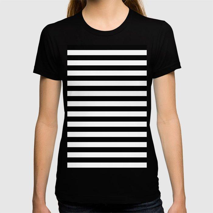 Black and White Horizontal Strips T-shirt