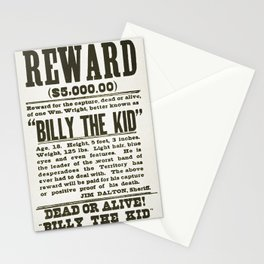Wanted poster for Billy the Kid Stationery Cards
