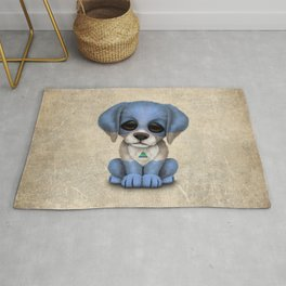 Cute Puppy Dog with flag of Nicaragua Rug