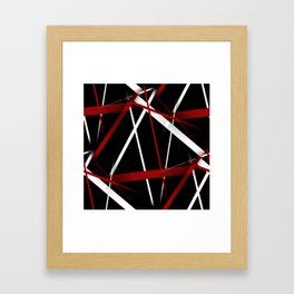 Seamless Red and White Stripes on A Black Background Framed Art Print
