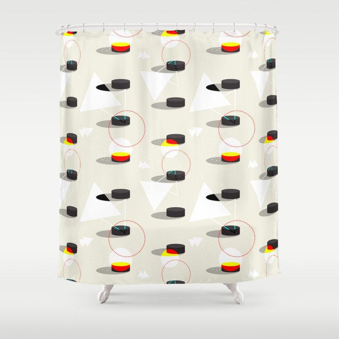 Pucks Geometries Society6 Hockey Sport Shower Curtain