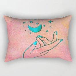 Moon & Stars Magical Celestial Hand Line Art Rectangular Pillow
