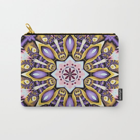 Kaleidoscope in purple, pink, gold and blue Carry-All Pouch