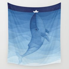 Whale blue ocean Wall Tapestry