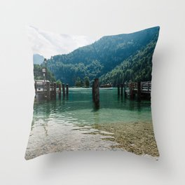 Pier in Konigssee lake Throw Pillow