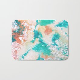 Sea Foam and Pink Abstract Bath Mat