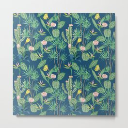 Cactus Flowers on Indigo Background Metal Print