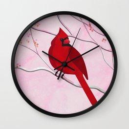 Cardinal on Pink Wall Clock