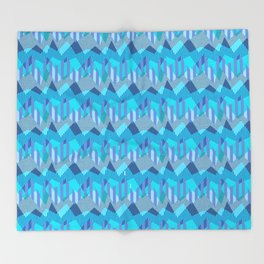 ZigZag All Day - Blue Throw Blanket