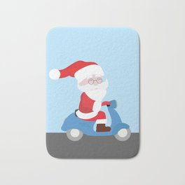 Santa Claus coming to you on his Scooter Bath Mat