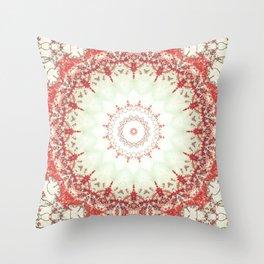 Autumn's Splendor Mandala -- Russet Red Leaves on Pale Mint Throw Pillow