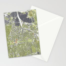 New Delhi map engraving Stationery Cards