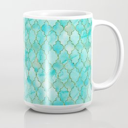 Luxury Aqua Teal and Gold oriental quatrefoil pattern Coffee Mug
