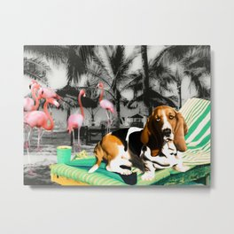 Tropical Basset Metal Print
