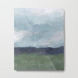 Rainy Blue Skies Navy Indigo Horizon Green Grass Abstract Nature Farmhouse Painting Art Print Wall Decor  Metal Print