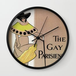 Vintage the Gay Parisienne Victorian theatre advertising Wall Clock
