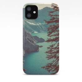 Vintage Blue Crater Lake and Trees - Nature Photography iPhone Case