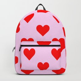 love heart pattern pink and red Backpack