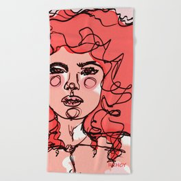 Little Red Curls Beach Towel