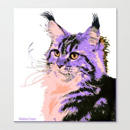 Maine Coon Cat Purple/Peach/Black Canvas Print