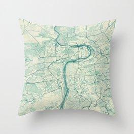 Prague Map Blue Vintage Throw Pillow