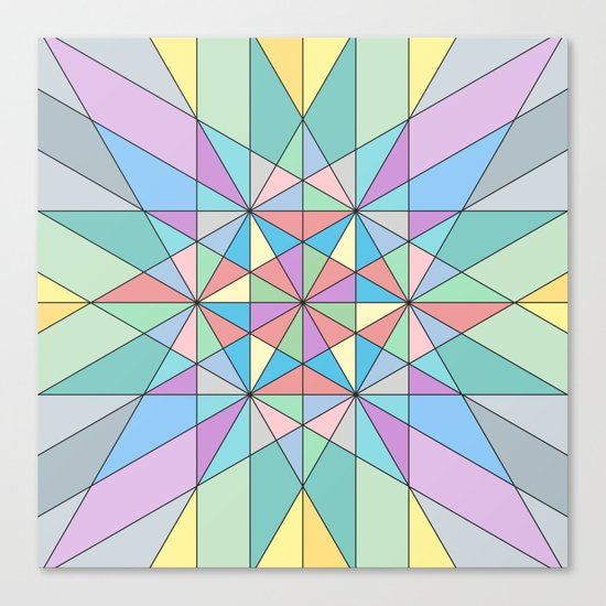 Colorful Pastel Mosaic Triangle Star Canvas Print