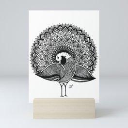 Black White Decorative Peacock Design Mini Art Print