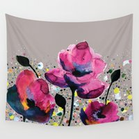 poppies Wall Tapestries featuring Poppies by Michelle Nilson