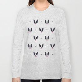 boston terrier pattern Long Sleeve T-shirt