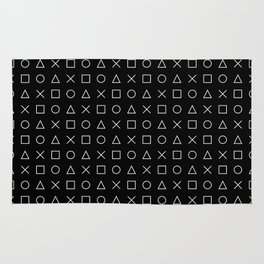 gamer pattern black and white  - gaming design black Rug