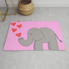 Pink Love Elephant Rug