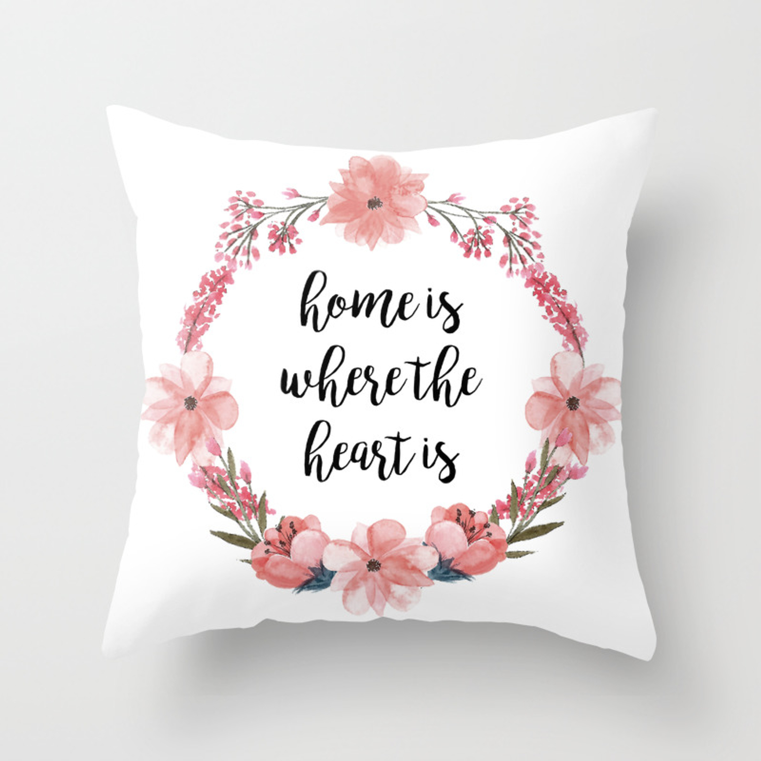 Home Is Where The Heart Is Throw Pillow By Catmustache Society6