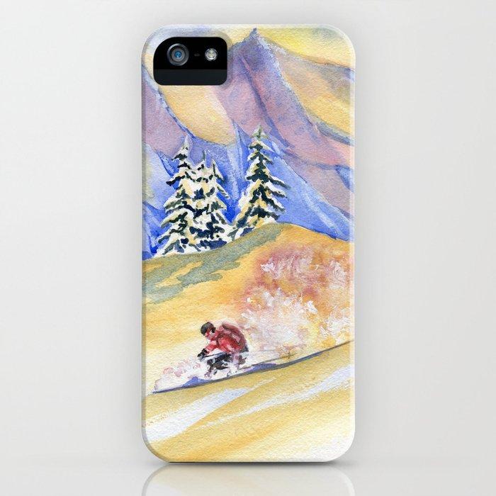Powder Skiing Art iPhone Case
