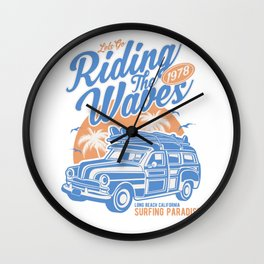 Lets Go Riding The Waves 1978 Wall Clock