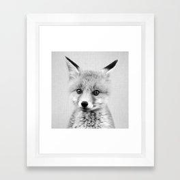 Baby Fox - Black & White Framed Art Print